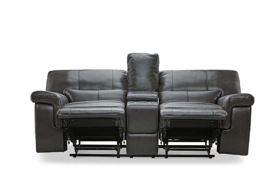 Weston Dark Gray Lthr/vinyl Power Reclining Console Loveseat