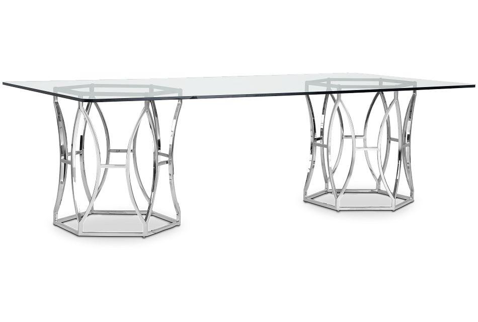 Argent Glass Rectangular Table,  (2)