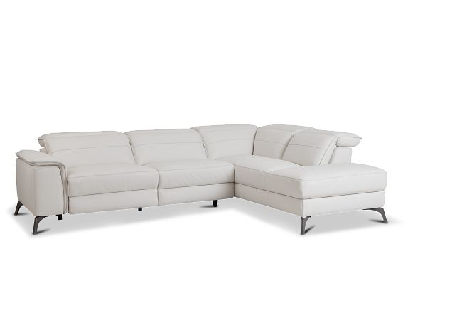 Pearson White Leather Right Bumper Sectional