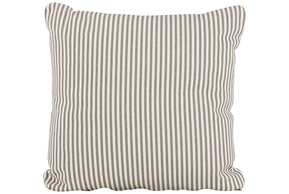 Longboard Taupe Stripe Square Accent Pillow