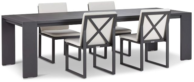 """Linear Dark Gray White 110"""" Aluminum Table & 4 Cushioned Side Chairs (0)"""