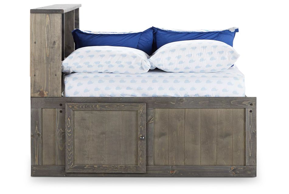 Cinnamon Gray Storage Bookcase Daybed