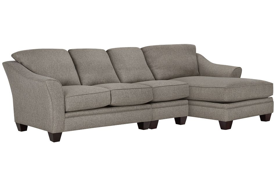 Avery Dark Gray Fabric Small Right Chaise Sectional