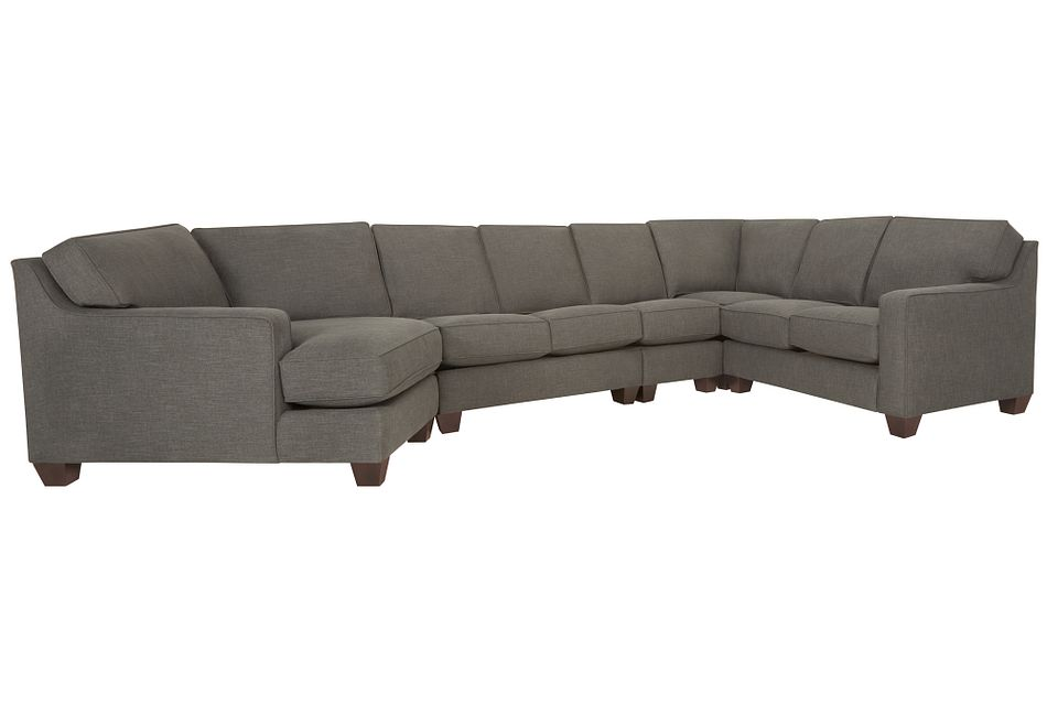 York Dark Gray Fabric Large Left Cuddler Sectional
