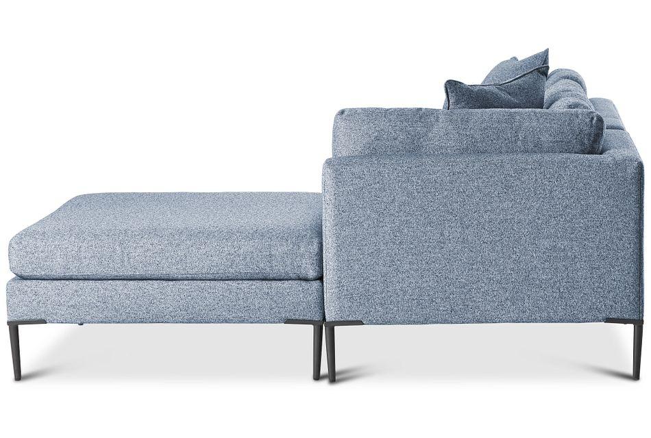 Morgan Blue Fabric Small Right Bumper Sectional W/ Metal Legs