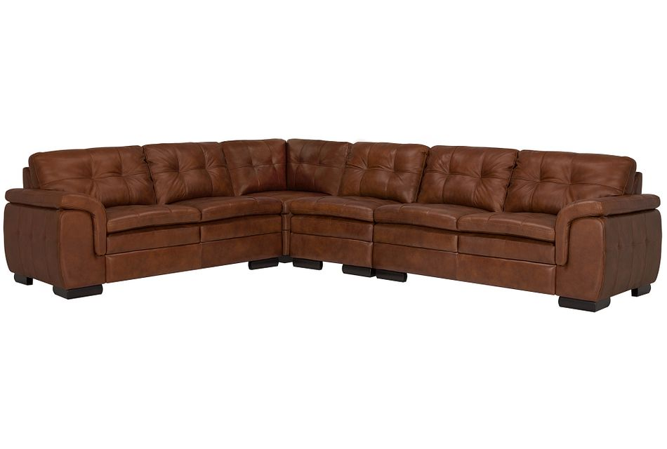 Trevor Medium Brown Leather Large Two-arm Sectional