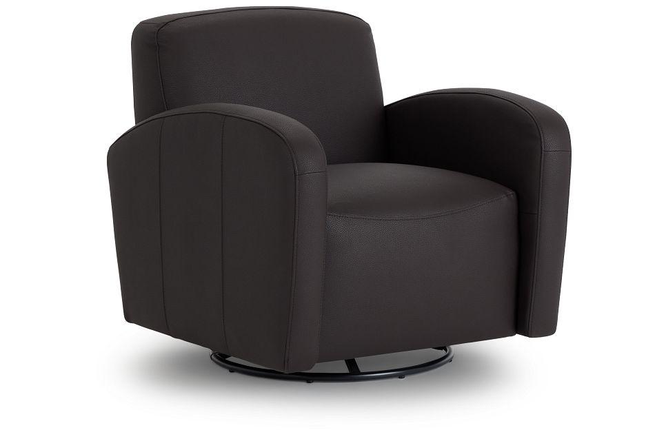 Axis Dark Brown Vinyl Swivel Accent Chair,  (1)