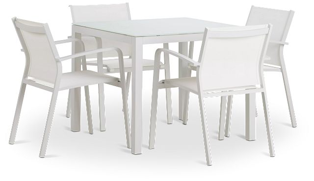 """Lisbon White 36"""" Square Table & 4 Chairs (0)"""