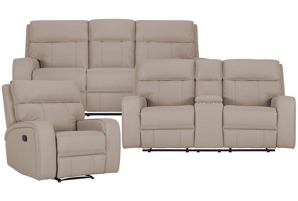 Rhett Taupe Micro Manually Reclining Living Room