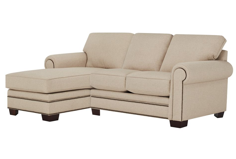 Foster Khaki Fabric Small Left Chaise Sectional