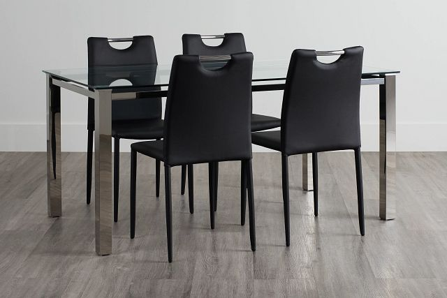 Skyline Black Rect Table & 4 Upholstered Chairs (0)