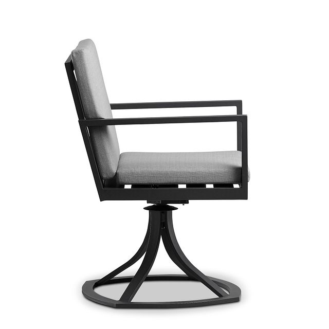 Linear Dark Gray Swivel Arm Chair (1)