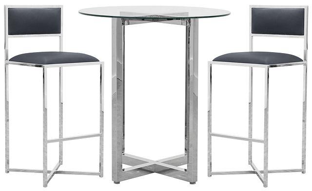 Amalfi Gray Glass Pub Table & 2 Metal Barstools (0)