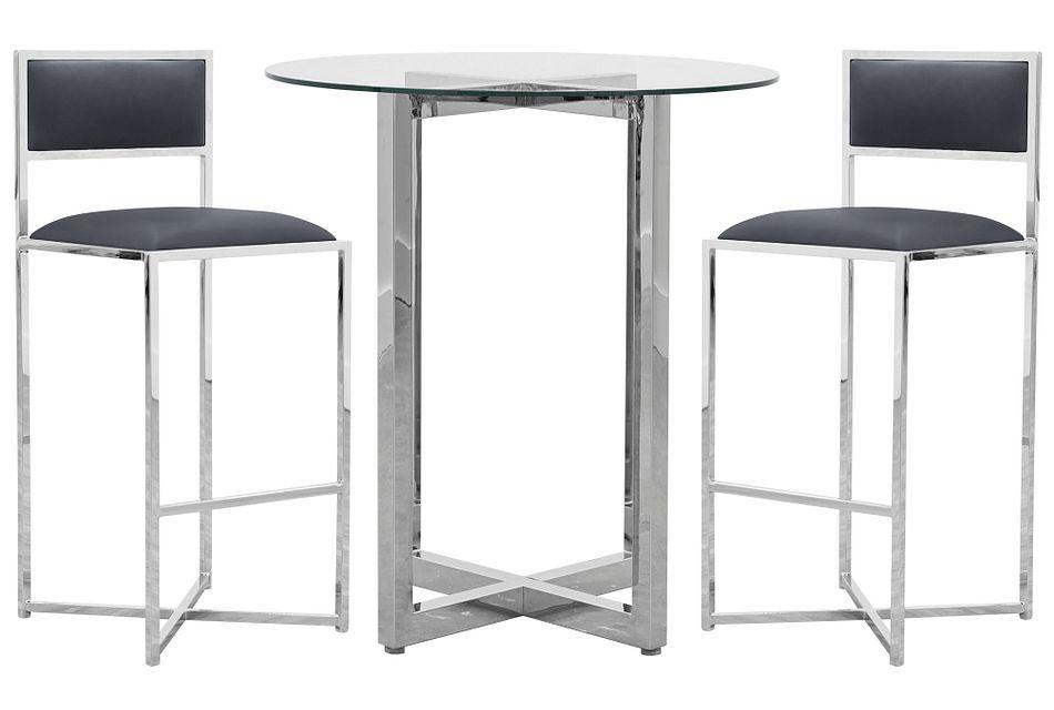 Amalfi Gray Glass Pub Table & 2 Metal Barstools