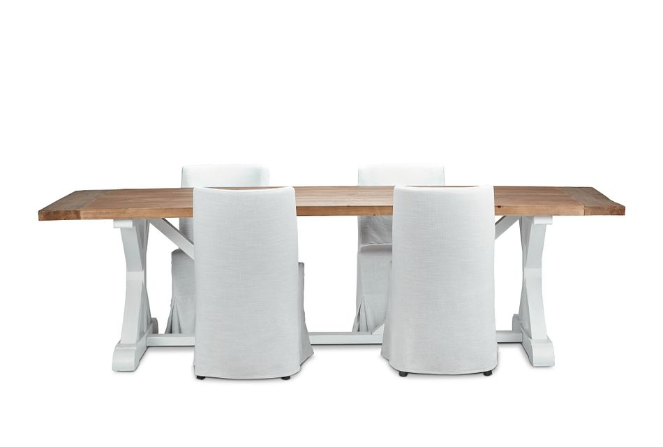 "Hilton Two-tone 110"" Table & 4 Skirted Chairs"