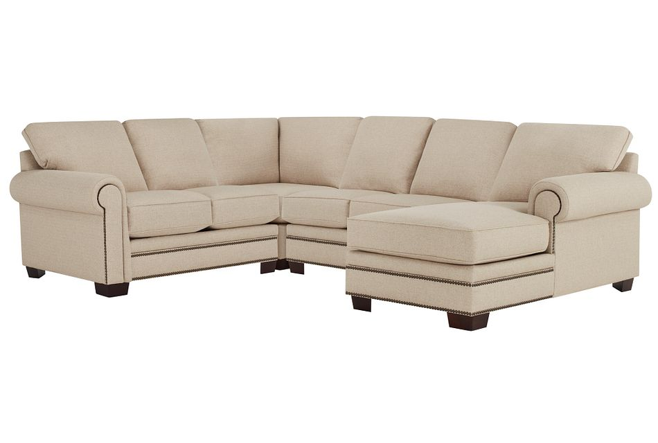Foster Khaki Fabric Medium Right Chaise Sectional