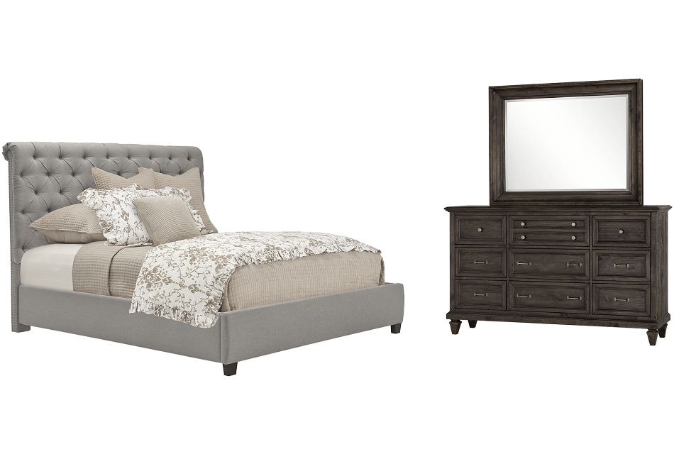 Durham Gray Uph Platform Bedroom