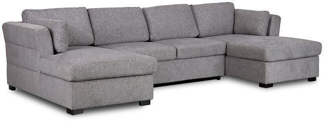 Amber Dark Gray Fabric Double Chaise Sleeper Sectional (1)