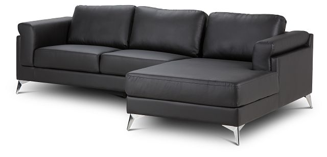Gianna Black Micro Right Chaise Sectional (1)