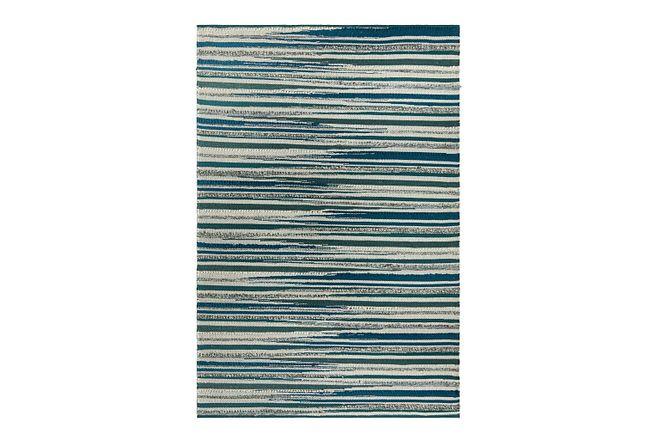 Cizin Dark Teal Wool Blend 5x8 Area Rug