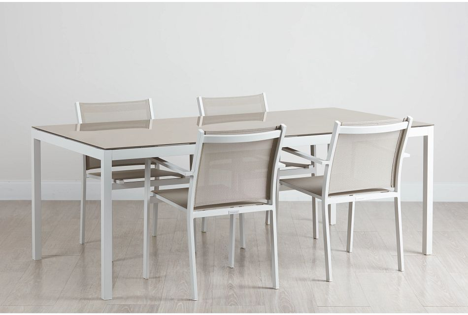 """Aventura Champagne 78"""" Table & 4 Arm Chairs"""