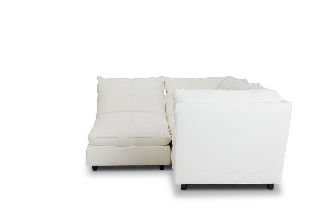 Hudson White Micro 5pc Bumper Sectional (2)