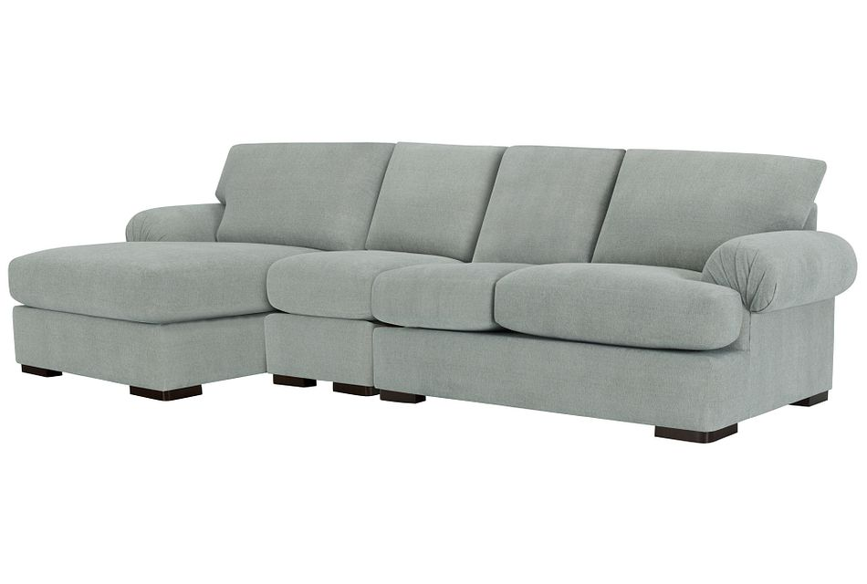 Belair Light Blue  FABRIC Small Left Chaise Sectional