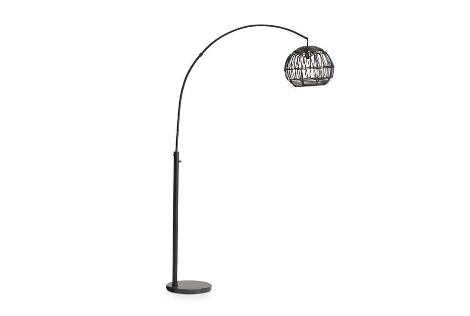 Wicker Black Rattan Arc Floor Lamp