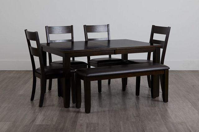 Navarro Dark Tone Rect Table, 4 Chairs & Bench (0)