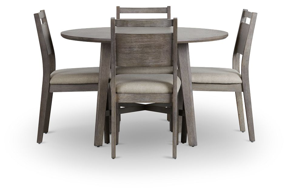 Rockville Light Tone Round Table & 4 Upholstered Chairs,  (2)