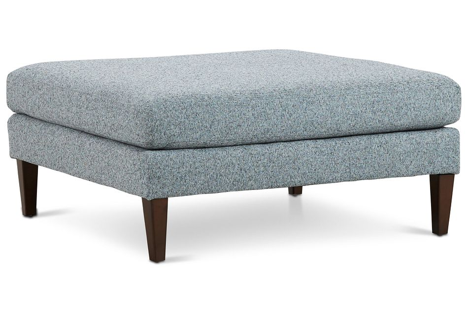 Morgan Teal Fabric Cocktail Ottoman With Wood Legs