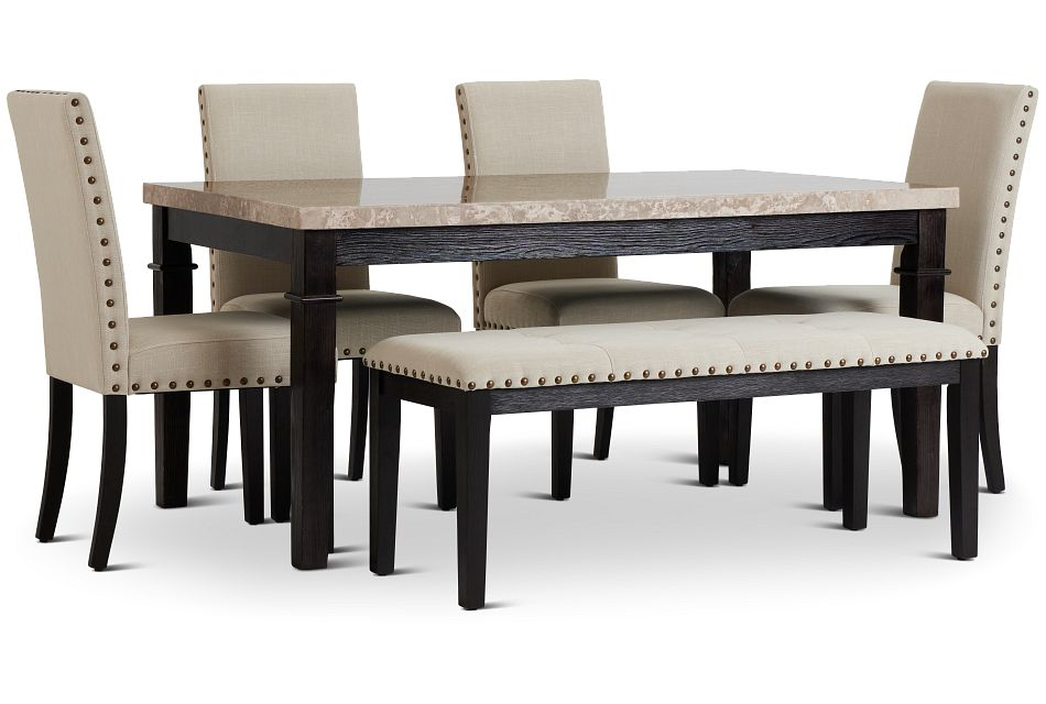 Portia Dark Tone Marble Table, 4 Chairs & Bench,  (2)
