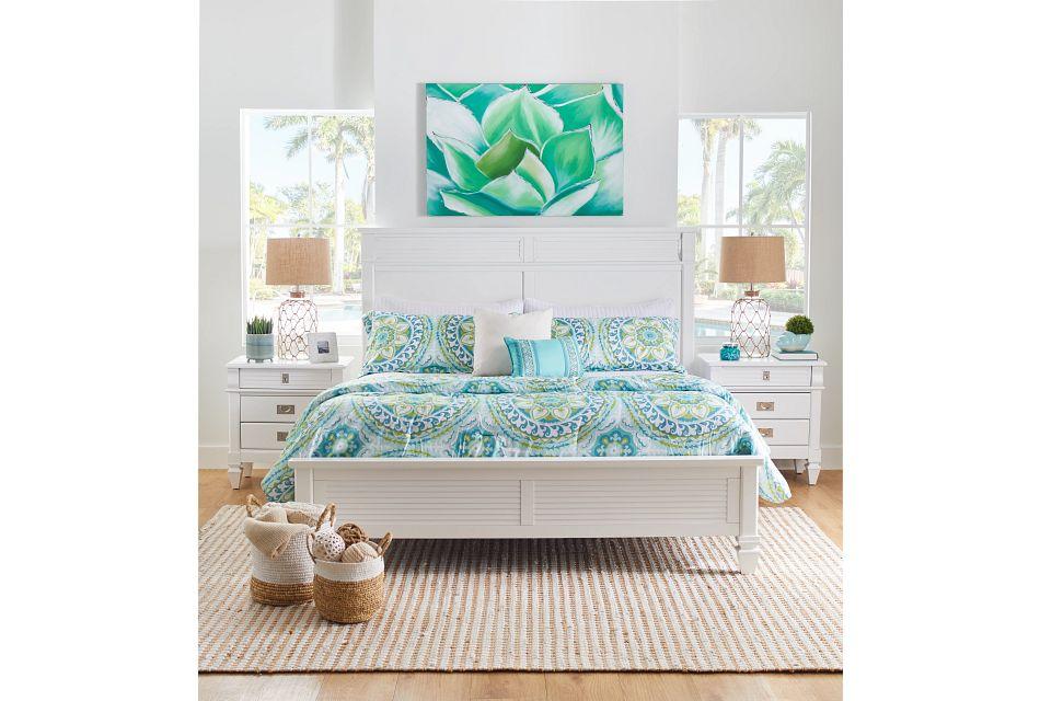 Marina White Panel Storage Bed