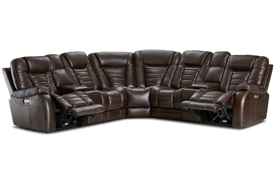 Bradley Dark Brown Lthr/vinyl Large Dual Power Reclining Two-arm Sectional
