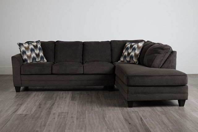 Charlie Dark Gray Fabric Right Bumper Sectional (0)
