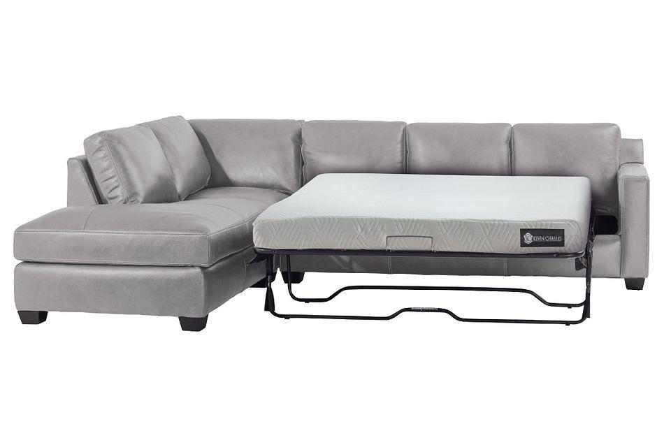 Carson Gray Leather Left Bumper Memory Foam Sleeper Sectional