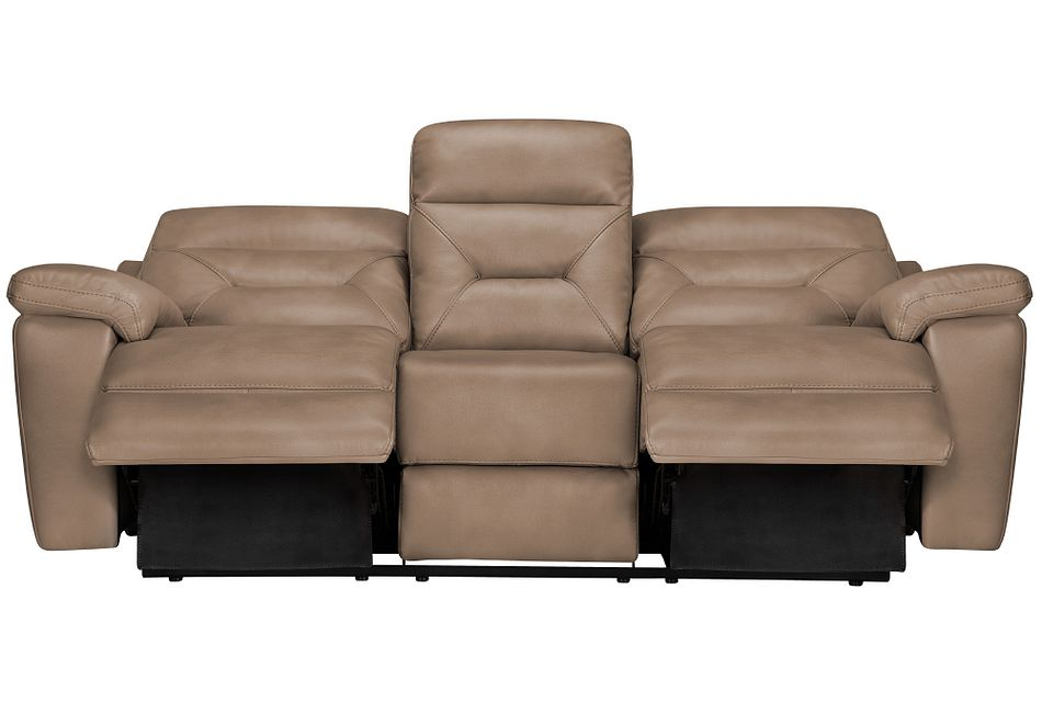 Phoenix Dark Beige Micro Power Reclining Sofa