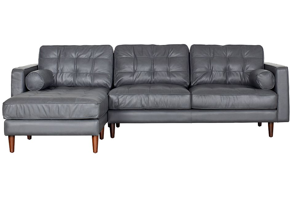 Encino Gray Leather Left Chaise Sectional