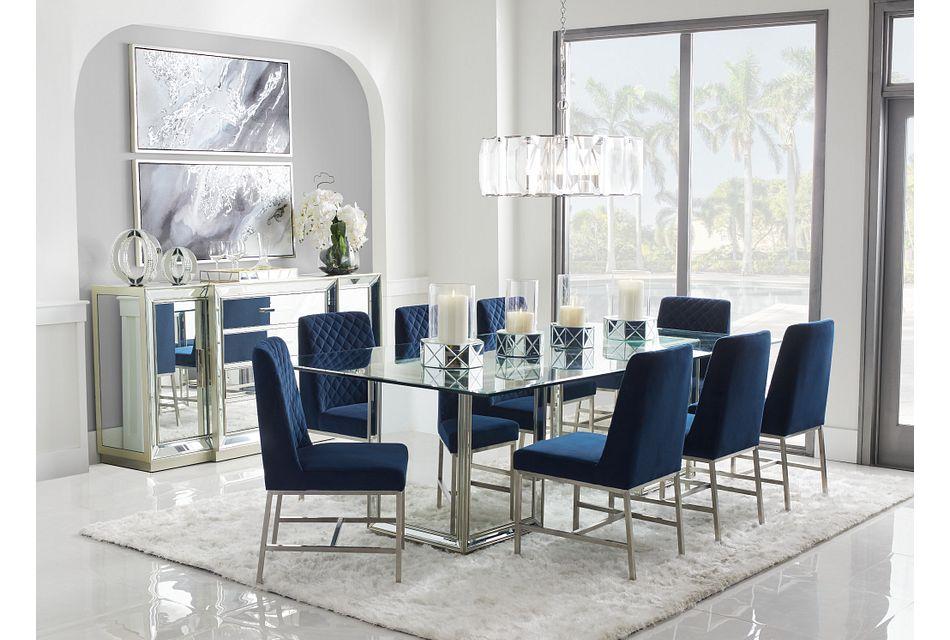 Monroe Dark Blue Glass Table 4 Velvet Chairs Dining Room Dining Sets City Furniture