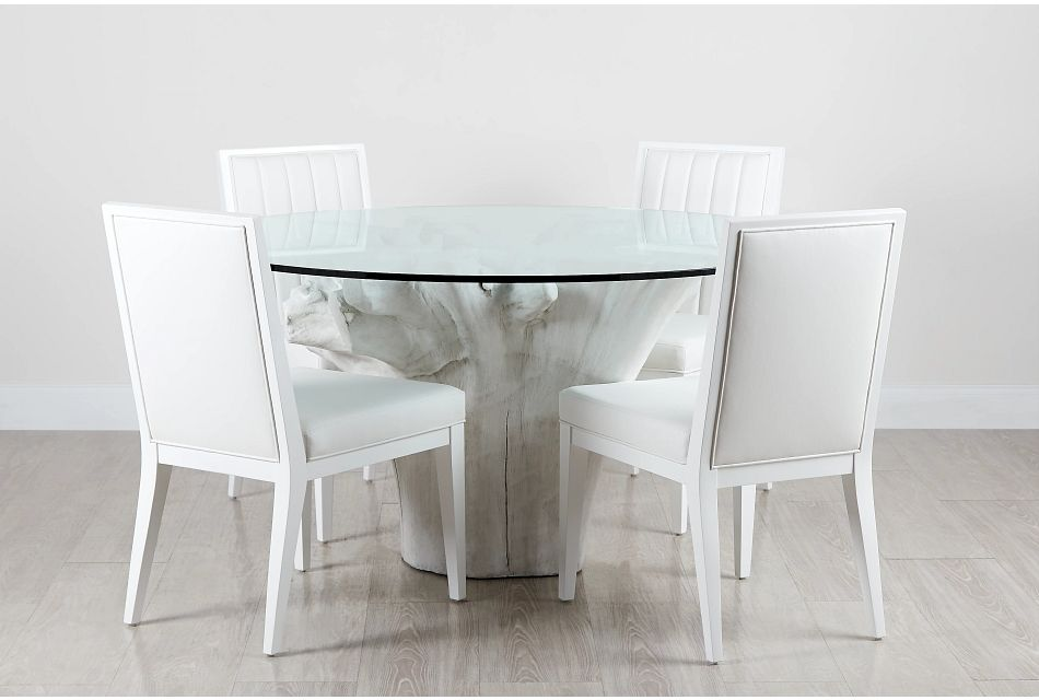 "Ocean Drive 60"" Glass Table & 4 Wood Chairs"