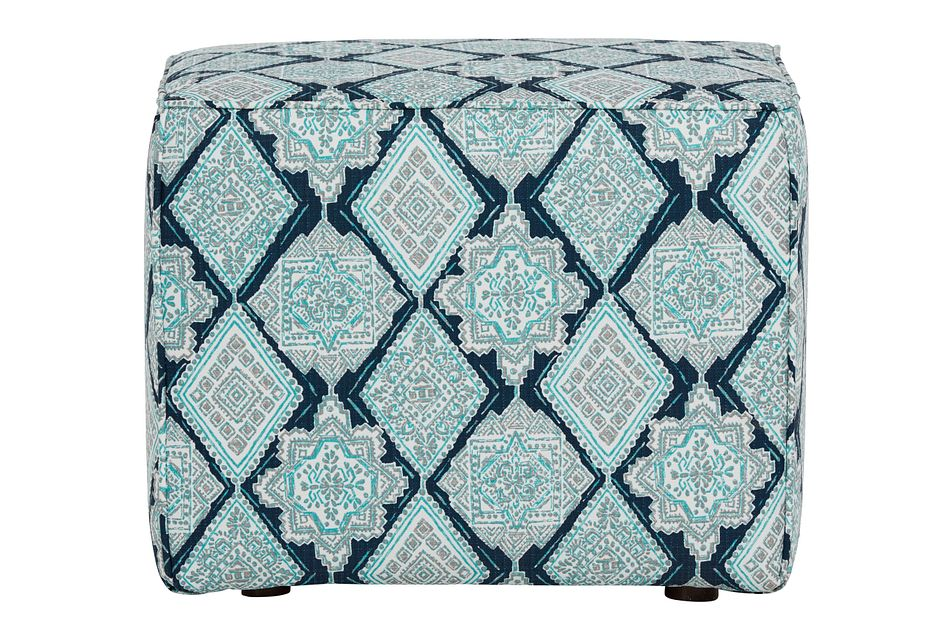 Milan Blue Fabric Indoor/outdoor Accent Ottoman