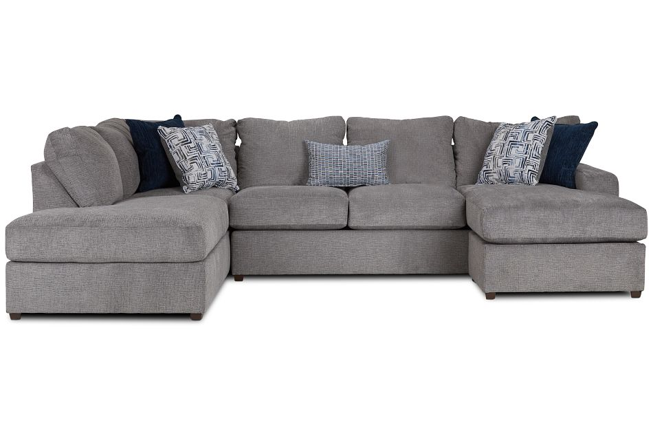 Banks Gray Fabric Left Bumper Sectional,  (3)