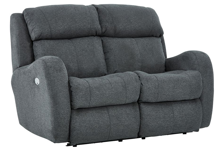 Finn Gray Fabric Power Reclining Loveseat