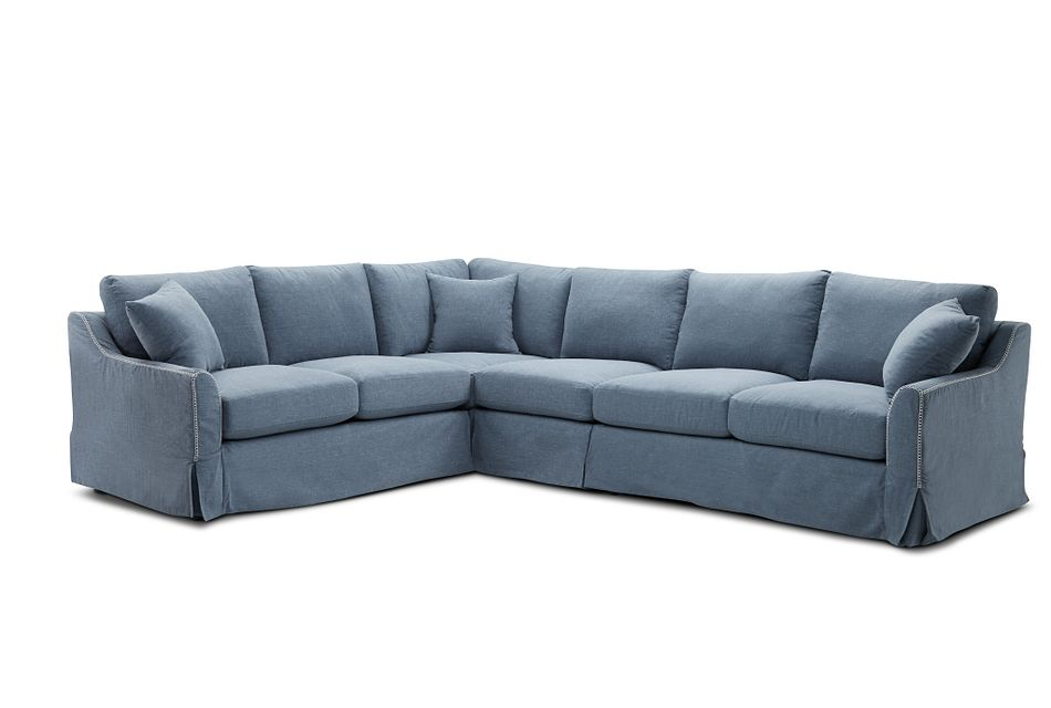 Madelyn Blue Fabric Large Two-arm Sectional