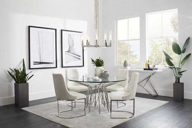 Cullen Glass Round Table & 4 White Upholstered Chairs (1)