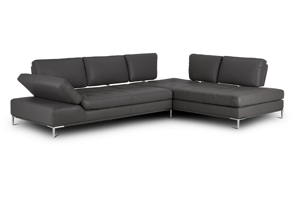 Camden Dark Gray Micro Right Chaise Sectional