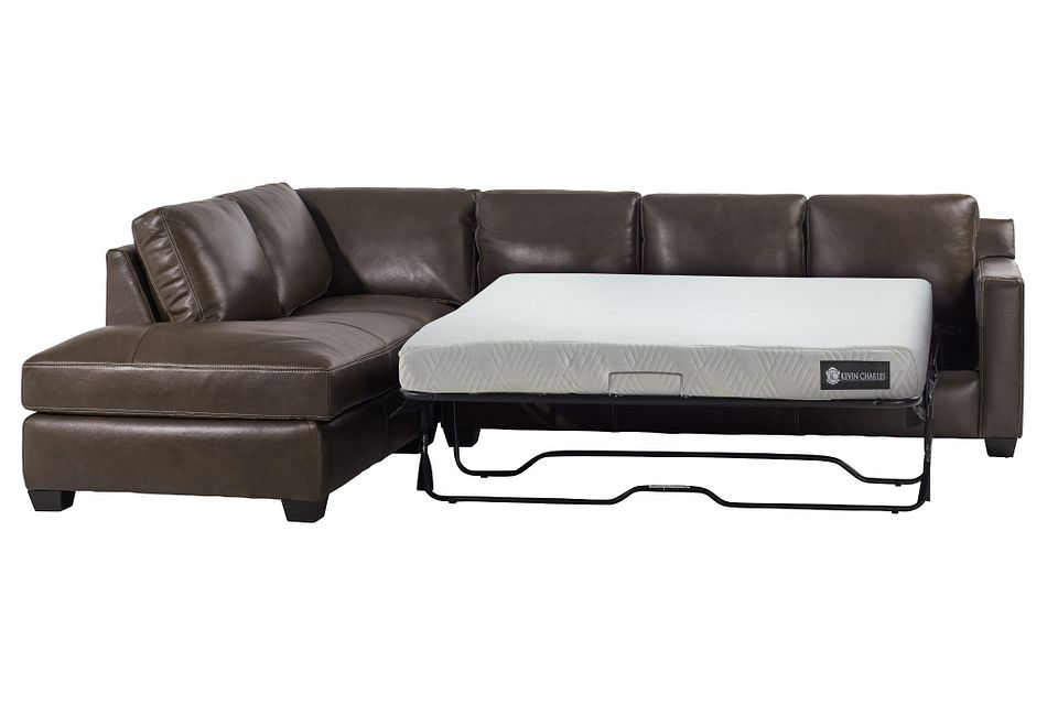 Carson Dark Brown Leather Left Bumper Memory Foam Sleeper Sectional