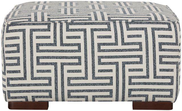 Doric Blue Fabric Accent Ottoman (2)