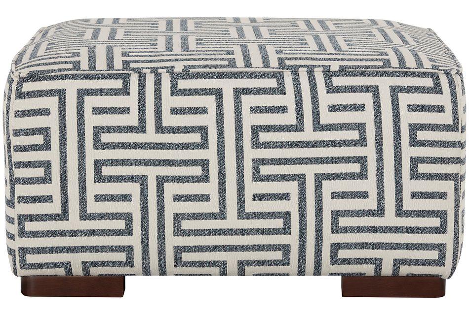 Doric Blue Fabric Accent Ottoman