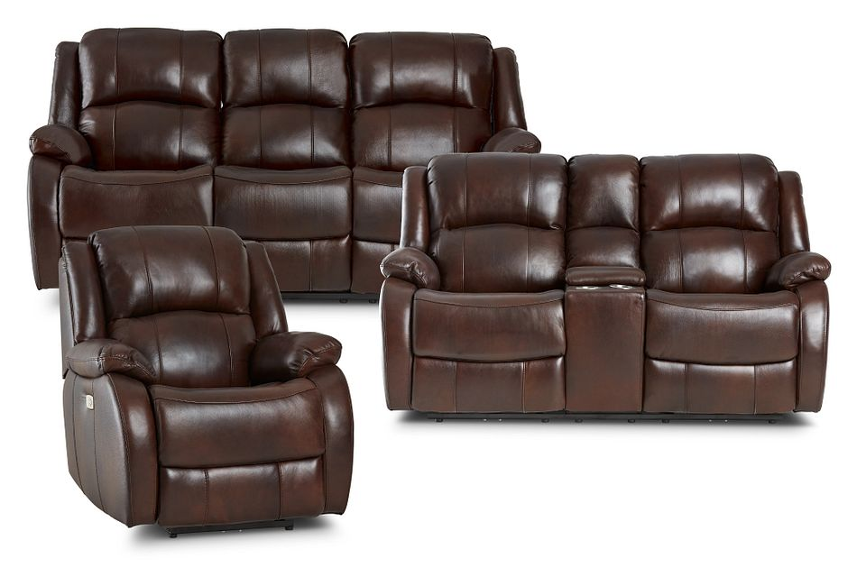 Dalton Medium Brown Lthr/vinyl Power Reclining Living Room